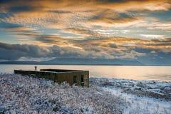 Крышки снега историческое здание Cannery на острове Lummi Стоковые Изображения