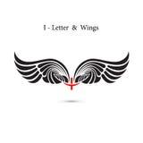 крыла знака и ангела Я-письма Модель-макет логотипа крыла вензеля классицистическо иллюстрация вектора