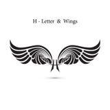 крыла знака и ангела H-письма Модель-макет логотипа крыла вензеля классицистическо иллюстрация вектора
