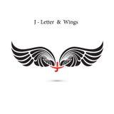 крыла знака и ангела J-письма Модель-макет логотипа крыла вензеля классицистическо бесплатная иллюстрация
