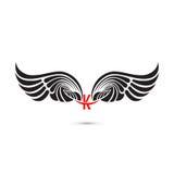 крыла знака и ангела K-письма Модель-макет логотипа крыла вензеля классицистическо иллюстрация вектора