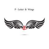 крыла знака и ангела P-письма Модель-макет логотипа крыла вензеля классицистическо бесплатная иллюстрация