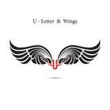 крыла знака и ангела U-письма Модель-макет логотипа крыла вензеля классицистическо бесплатная иллюстрация