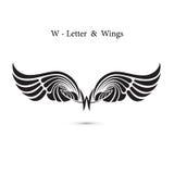 крыла знака и ангела W-письма Модель-макет логотипа крыла вензеля классицистическо иллюстрация вектора
