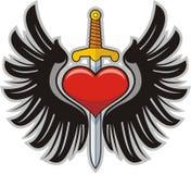 Крыла, сердце и шпага Стоковые Изображения RF