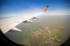 Крыло летания самолета Стоковое Фото
