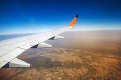Крыло летания самолета Стоковая Фотография