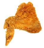 Крыло жареной курицы взгляд сверху кудрявое изолированное над белизной Стоковое Изображение