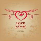 Крыло карточки валентинок сердец Стоковое Изображение RF