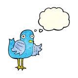 крыло птицы шаржа развевая с пузырем мысли Стоковое Изображение