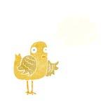 крыло птицы шаржа развевая с пузырем мысли Стоковые Изображения