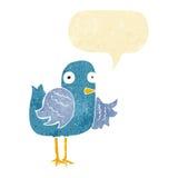 крыло птицы шаржа развевая с пузырем речи Стоковые Фотографии RF