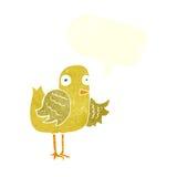 крыло птицы шаржа развевая с пузырем речи Стоковое Изображение