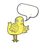 крыло птицы шаржа развевая с пузырем речи Стоковое Фото