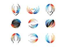 Крыло, пламя, сердце, логотип, огонь, влюбленность, комплект дизайна вектора значка символа энергии концепции Стоковые Фотографии RF