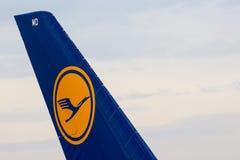 Крыло airplanetail аэробуса A380 Стоковое фото RF