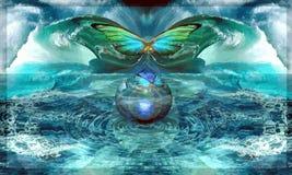 Крыл-удар бабочки, вызывая ураган Стоковое фото RF