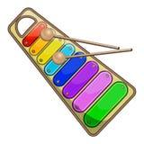 Ксилофон радуги ` s детей на белой иллюстрации вектора предпосылки Стоковые Изображения