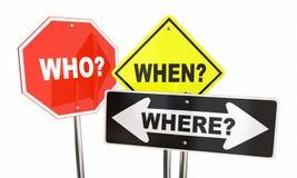 Кто когда где дорожные знаки вопросов формулируют Стоковое фото RF