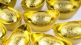 Куала-Лумпур, Малайзия - 13-ое декабря 2017: Крупный план китайского нового золота Sycees Year's или золотого ингота Стоковые Фото