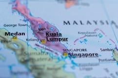 Куала-Лумпур на карте Стоковая Фотография