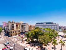КУБА, ГАВАНА - 5-ОЕ МАЯ 2017: Взгляд к главной площади Гаваны Взгляд сверху Скопируйте космос для текста Стоковое Изображение