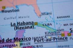 Куба на карте Стоковое фото RF