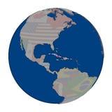 Куба на политическом глобусе Стоковые Изображения RF