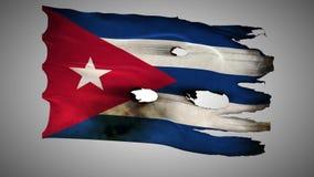 Куба пефорировала, сгоренный, альфа петли флага grunge развевая иллюстрация вектора