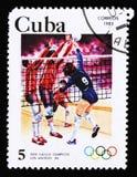 Куба показывает волейбол, 23th Олимпийские Игры лета, Лос-Анджелес 1984, США, около 1983 Стоковое Изображение
