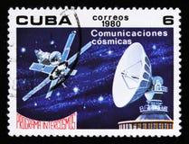 Куба показывает сообщение в космосе, космической программе Советского Союза, Intercosmos, около 1980 Стоковое Фото