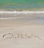 Куба помечает буквами песок Стоковая Фотография RF
