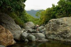 Куба, туристский след в Pico Turquino покрывает Стоковые Фото