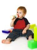 кубики бутылки подавая малыш Стоковая Фотография RF
