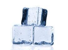 Кубики льда изолированные на белизне стоковые изображения rf