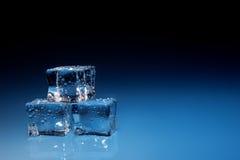 Кубики льда с водой падают предпосылка стоковые изображения rf