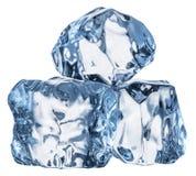 кубики морозят 3 Съемка макроса Путь клиппирования стоковые фотографии rf