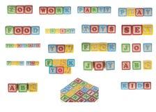 кубики установили деревянные слова стоковое изображение rf