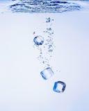 Кубики льда в воде стоковые изображения rf