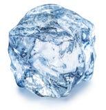 кубик падает вода льда Путь клиппирования стоковое фото