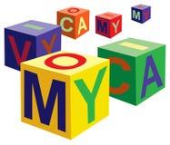 кубик помечает буквами вектор игрушки иллюстрация штока