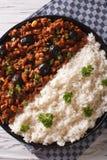Кубинец Picadillo habanera Ла с концом-вверх риса по вертикали верхняя часть v стоковая фотография