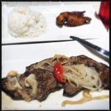 Кубинський стейк и рис palomilla Стоковое фото RF