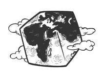 Кубический вектор гравировки земли планеты стоковое изображение rf