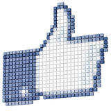 кубический изолированный символ thumbs вверх по белизне Стоковое Изображение