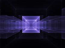 кубический неон горизонта Стоковое Фото