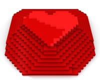 кубическое сердце сделало пирамидкой пикселов красный верх Иллюстрация вектора