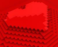 кубическое сердце сделало пирамидкой пикселов красный верх Бесплатная Иллюстрация