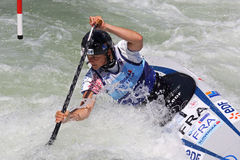 Кубок мира слалома ICF каное - Lucie Baudu (Франция) Стоковая Фотография RF