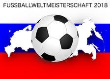 Кубок мира 2018: Флаг и футбол Стоковое Фото